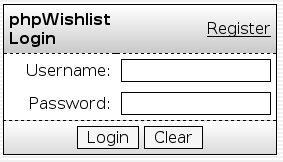 phpWishlist Login Screen